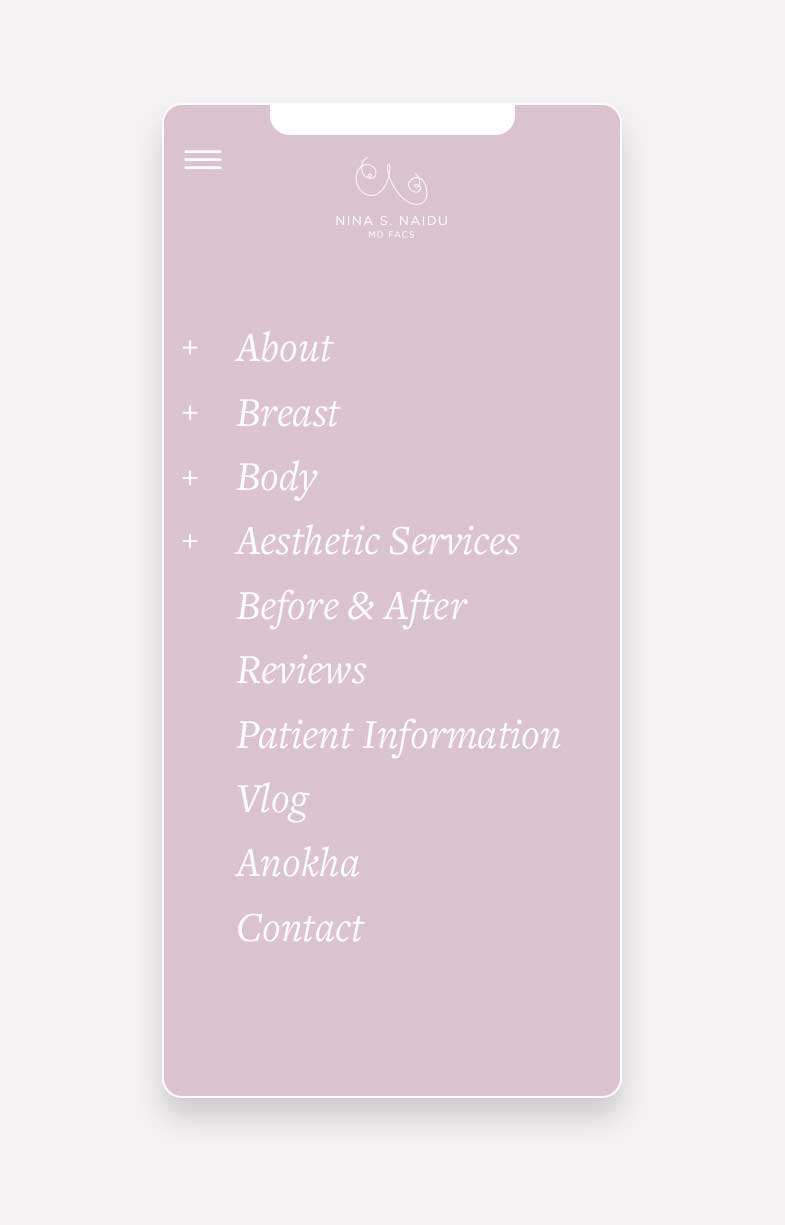 Lilac screenshot of Dr. Nina S. Naidu mobile website by Willow and Blake