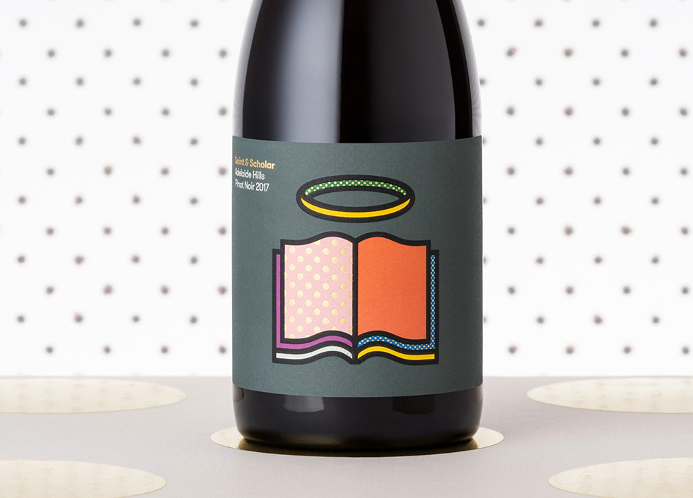 Adelaide wine brand Saint and Scholar colourful labels designed by Willow and Blake featuring a halo over a book.
