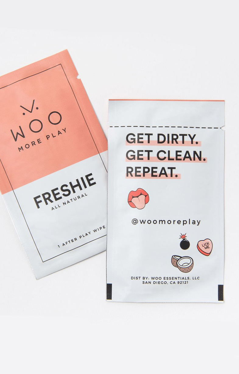 Woo coconut lube freshie wipe sachet packaging