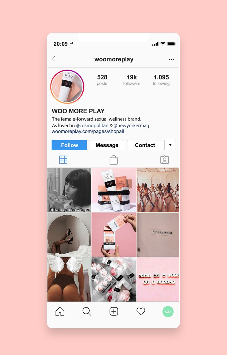 Pink accented Instagram feed for Woo coconut lube by Willow and Blake