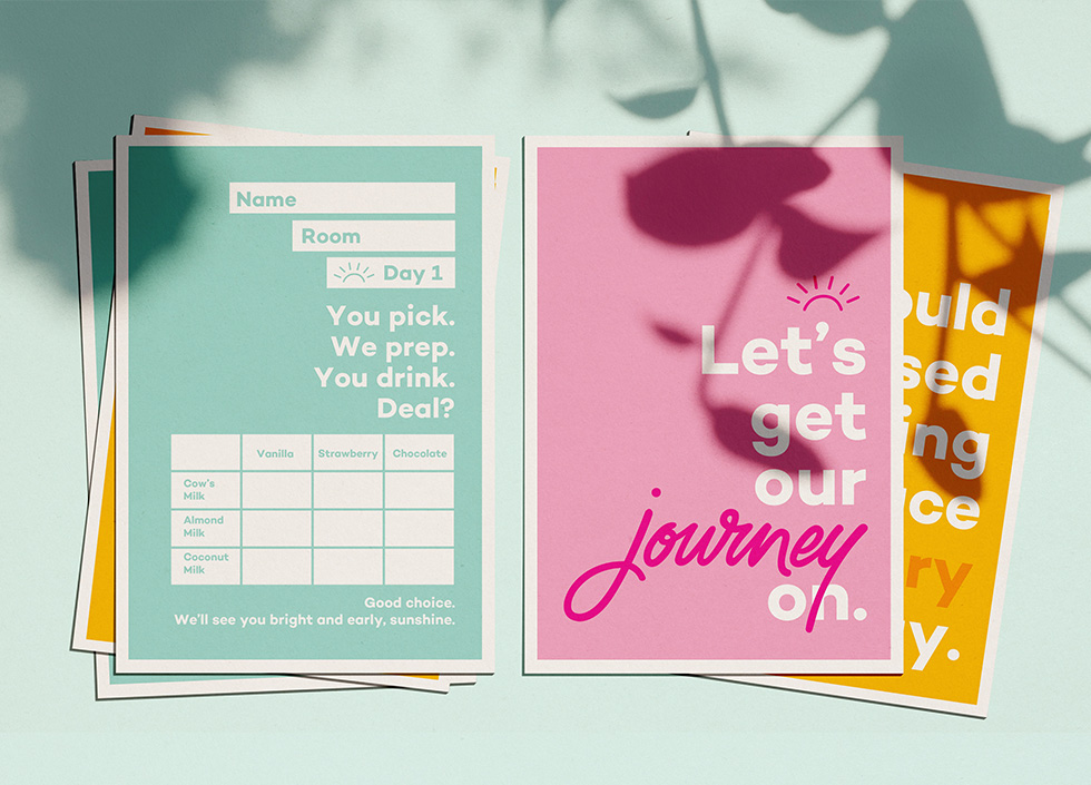 Journey Retreats colourful information pack written and designed by Willow and Blake