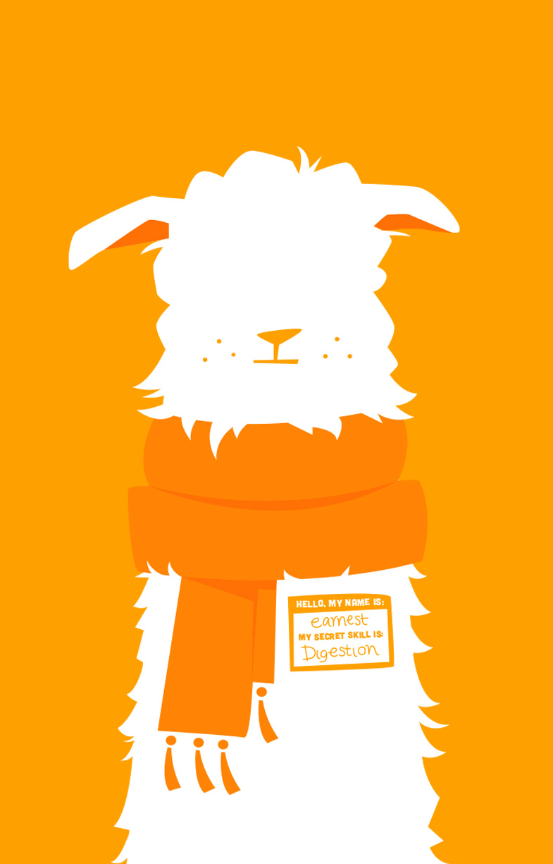 Cartoon LLama Naturals mascot on an orange background wearing scarf by Willow and Blake