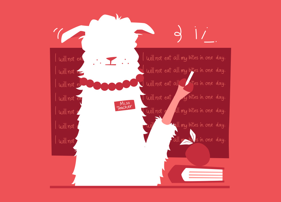 Cartoon LLama Naturals mascot on an red background designed by Willow and Blake