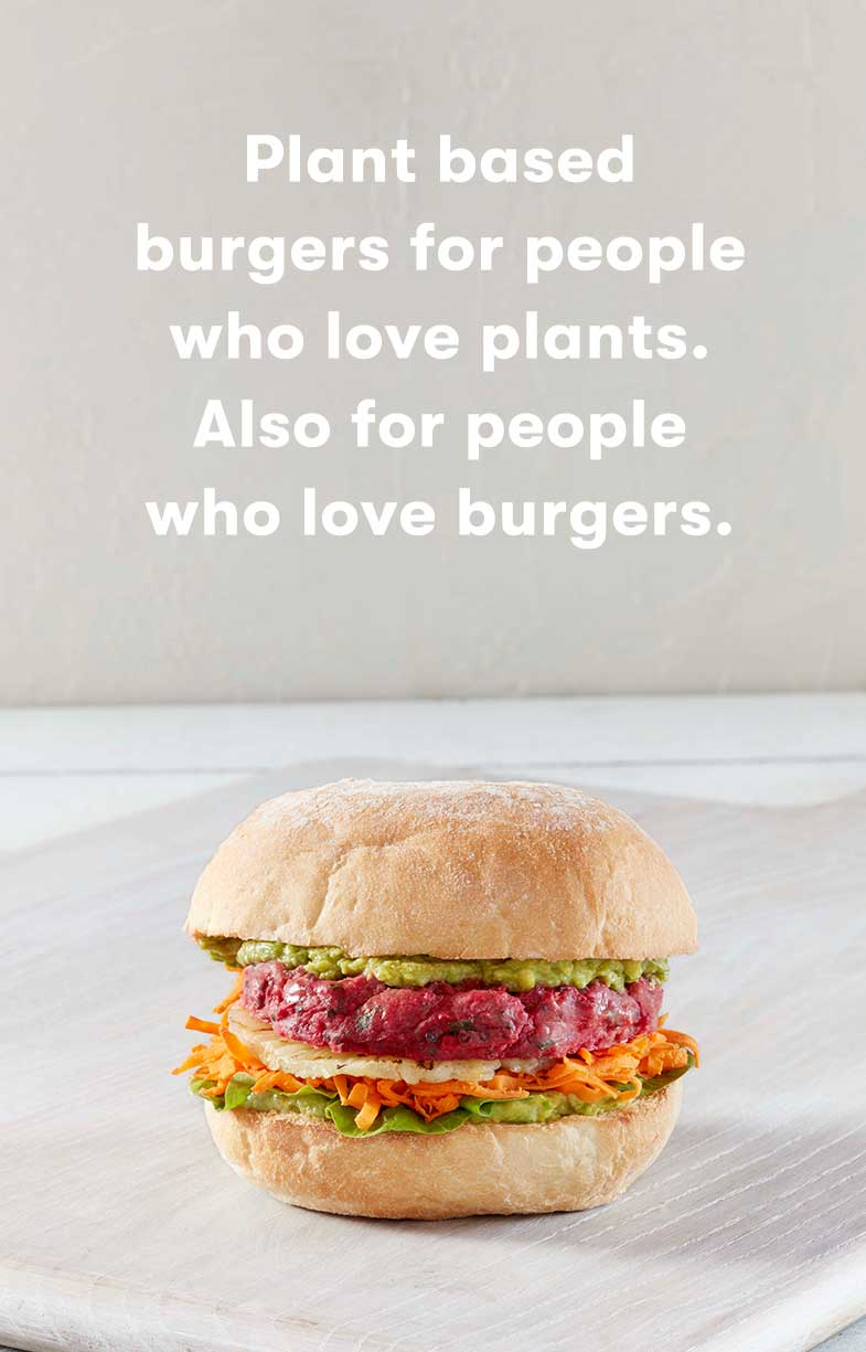 Picture of Grill'd's colourful plant-based burger with copy by Willow and Blake